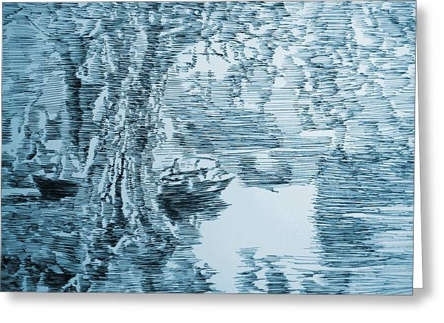 Boat In Blue Greeting Card by Robbi  Musser