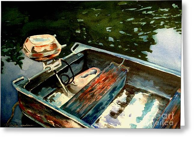 Boat In Fog 2 Greeting Card by Marilyn Jacobson