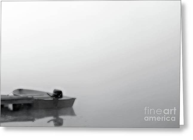 Boat In Fog On Lake Black And White Greeting Card by Randy Steele