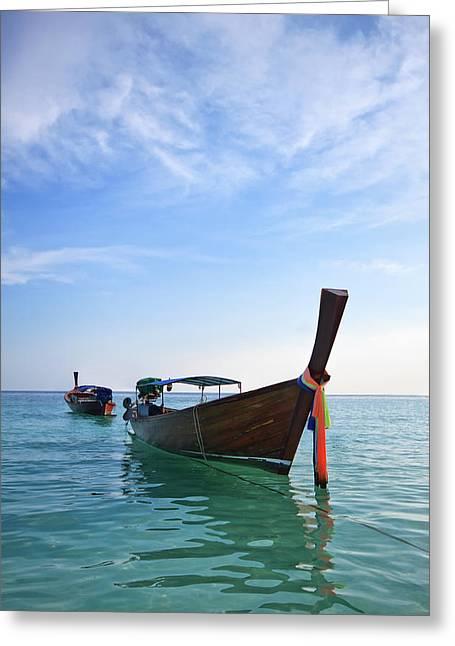 Boat In Libe Island  Greeting Card by Anek Suwannaphoom