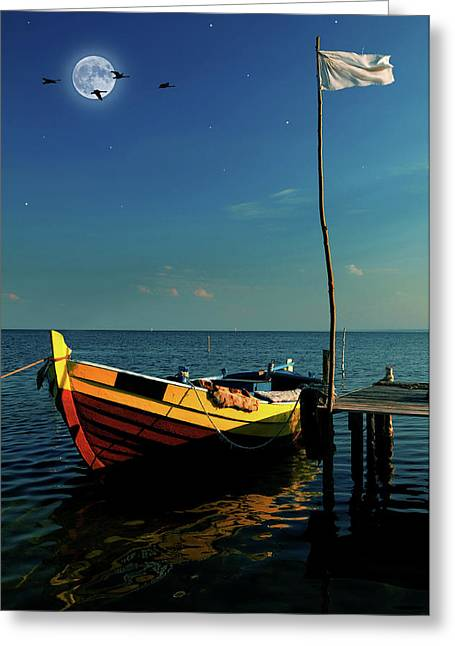 Boat In Moonlight Greeting Card by Jaroslaw Grudzinski