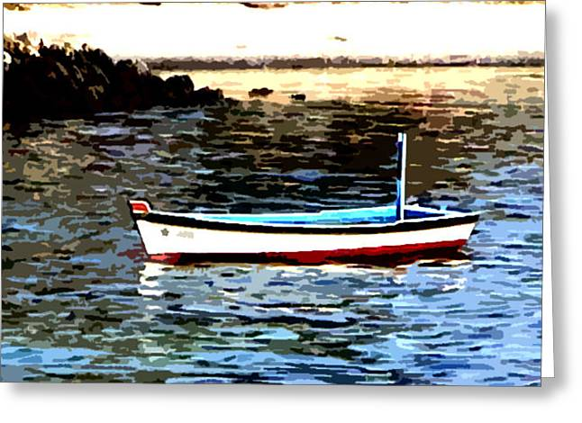 Boat In The Arabian Sea Greeting Card by Padamvir Singh