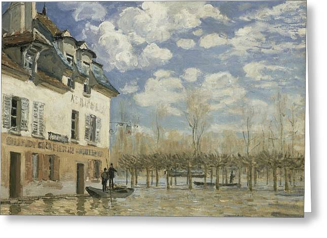 Boat In The Flood At Port Marly Greeting Card by Alfred Sisley