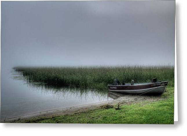 Boat In The Fog Greeting Card