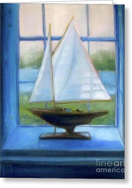 Boat In The Window Greeting Card by Mary Hubley