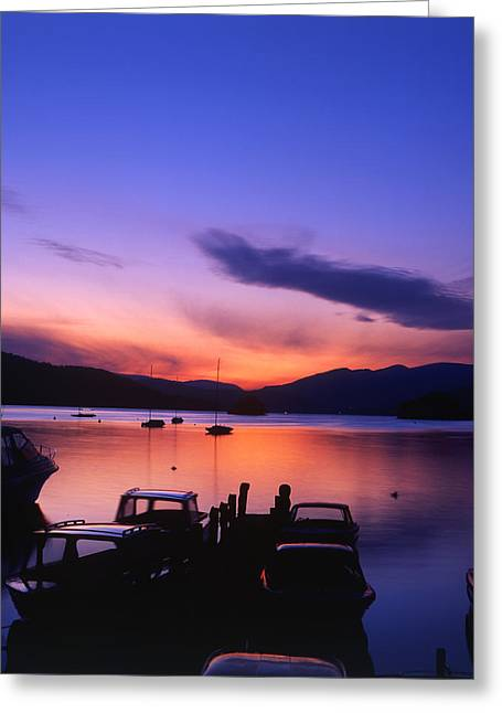 Boat Jetty  At Sunset On  Windermere, Cumbria, Uk Greeting Card