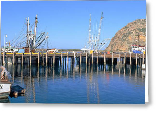 Boat Landing And Morro Rock At Morro Greeting Card by Panoramic Images