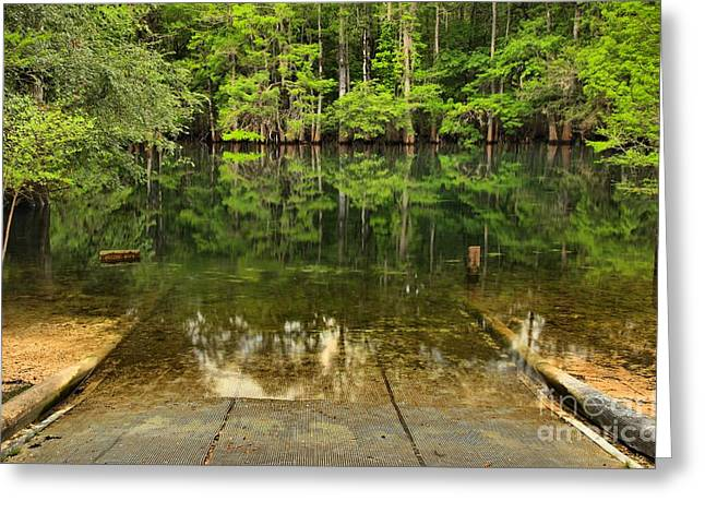 Boat Launch At Manatee Springs Greeting Card by Adam Jewell