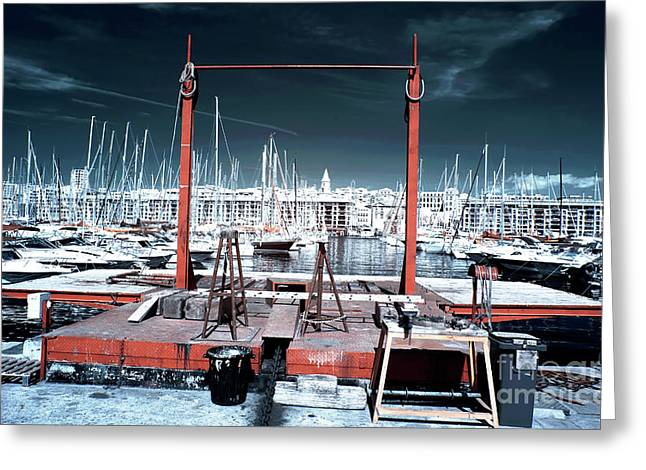 Boat Lift In The Port Greeting Card by John Rizzuto