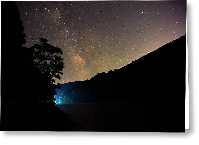 Boat Lights In Cheat Lake Under The Milky Way Greeting Card
