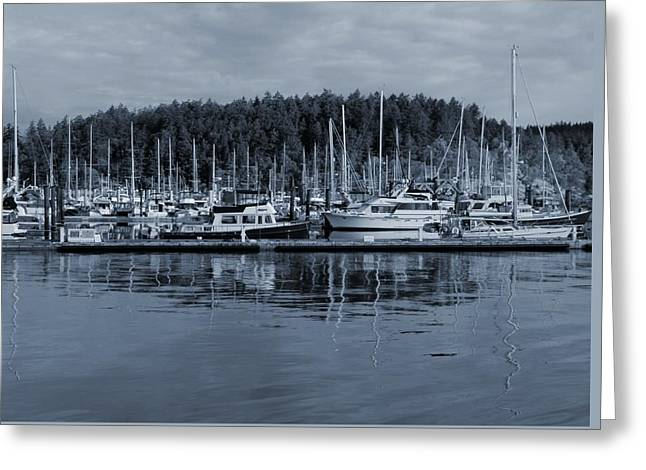 Boat Masts Reflection At Friday Harbor Greeting Card by Dan Sproul
