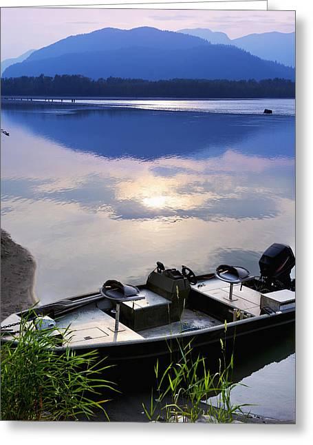 Boat Moored On The Peg Leg Bar Greeting Card by Lorna Rande