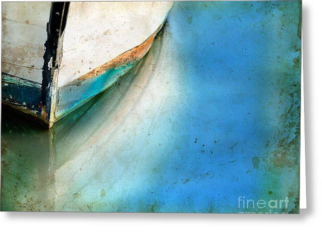 Greeting Card featuring the photograph Bow Of An Old Boat Reflecting In Water by Jill Battaglia