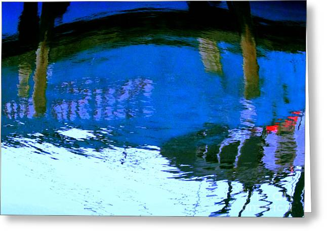 Boat Of Blue Water Greeting Card
