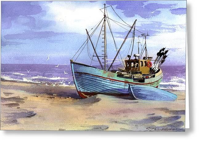 Boat On A Beach Greeting Card by Sergey Zhiboedov