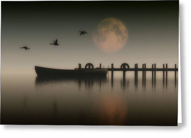 Boat On A Lake With Geese Flying Over Greeting Card