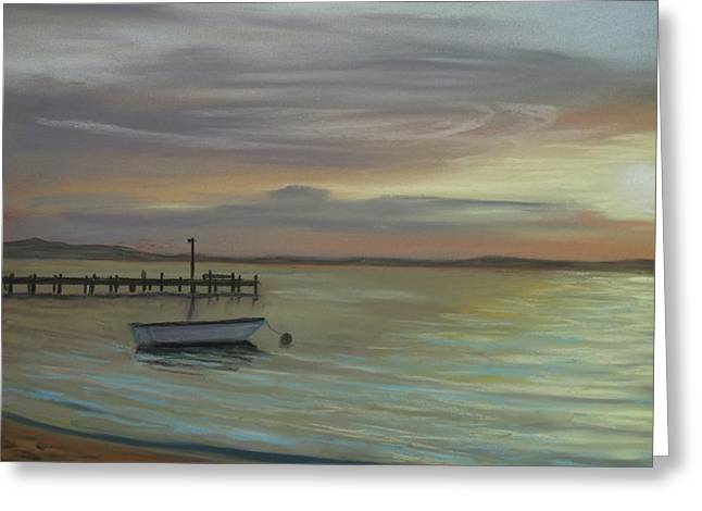 Boat On Bay Greeting Card by Joan Swanson