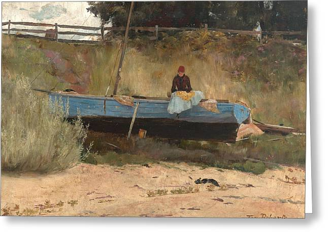 Boat On Beach, Queenscliff Greeting Card by Tom Roberts