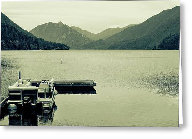 Boat On Lake Crescent Washington Greeting Card by Dan Sproul