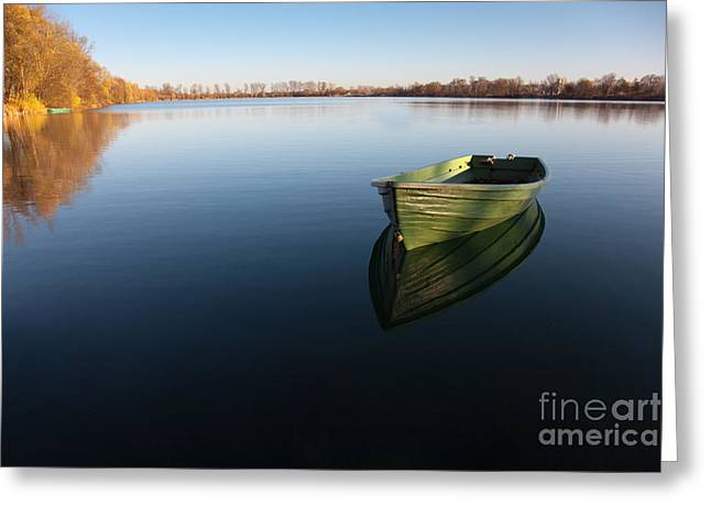 Boat On Lake Greeting Card by Nailia Schwarz