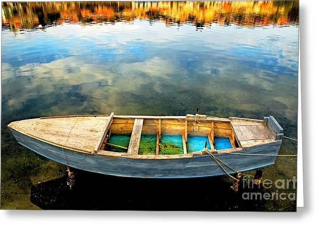 Boat On Lake Greeting Card by Silvia Ganora