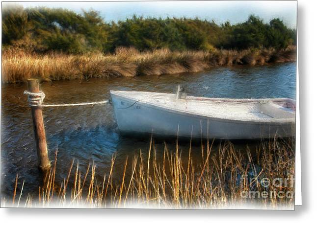 Boat On Pamlico Sound Ocracoke Island Outer Banks Ap Greeting Card by Dan Carmichael