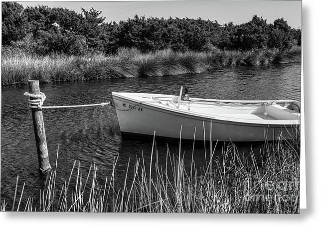 Boat On Pamlico Sound Ocracoke Island Outer Banks Bw Greeting Card by Dan Carmichael