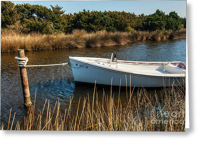 Boat On Pamlico Sound Ocracoke Island Outer Banks Greeting Card by Dan Carmichael