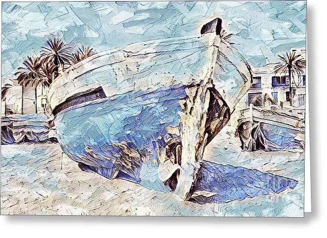 Greeting Card featuring the painting Boat On Sand Of A Beach Shore by Lita Kelley