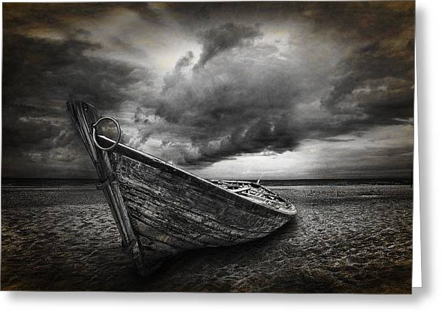 Boat On The Beach Greeting Card by Randall Nyhof