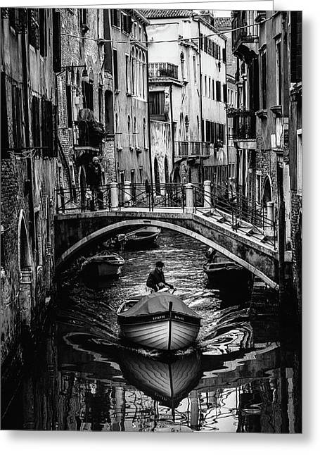 Boat On The River-bw Greeting Card by Okan YILMAZ
