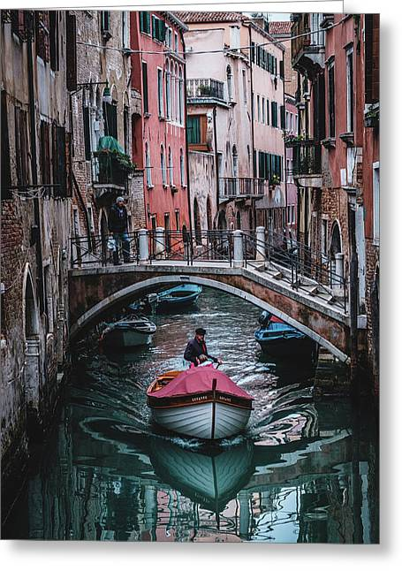 Boat On The River Greeting Card by Okan YILMAZ