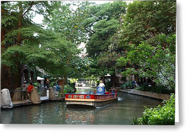 Boat On The San Antonio River Greeting Card by Dennis Stein