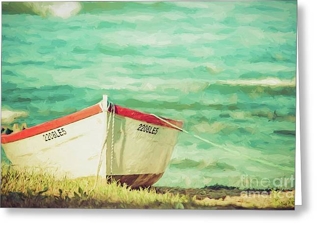 Boat On The Shore Greeting Card