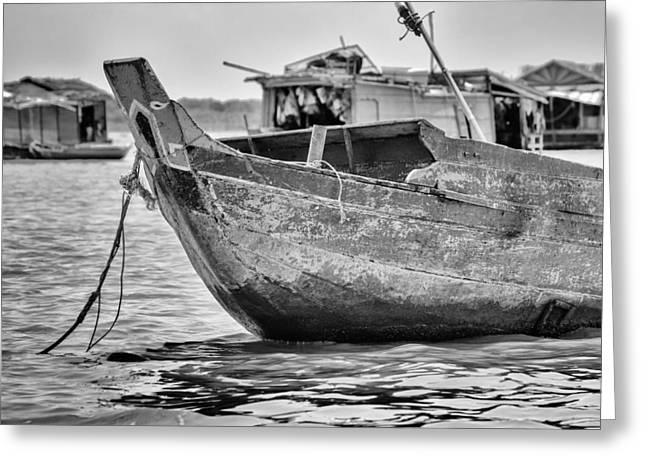 Boat On The Tonle Sap Greeting Card by Georgia Fowler