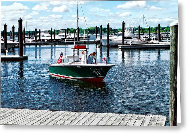 Boat - On The Water In Bristol Rhode Island Greeting Card by Susan Savad