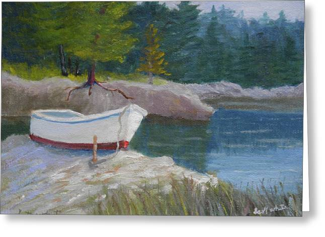 Boat On Tidal River Greeting Card