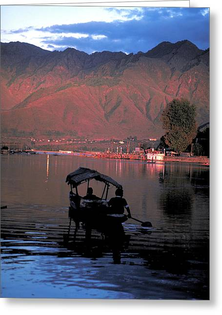 Boat On Vale Of Kashmir In India Greeting Card by Carl Purcell