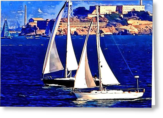 Boat Race At Alcatraz. Greeting Card by Douglas Coiner