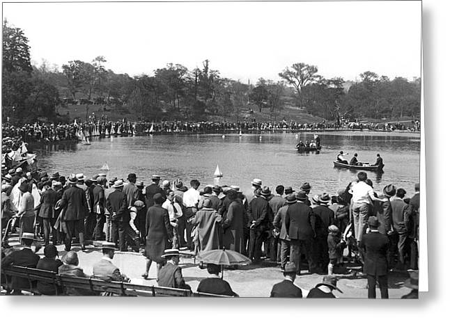 Boat Races In Central Park Greeting Card