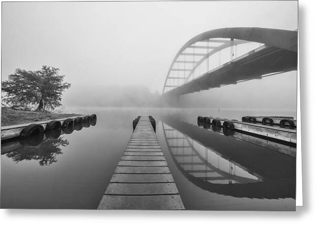Boat Ramp Black And White At The 360 Bridge Austin Texas Greeting Card