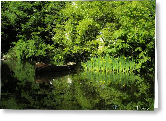 Boat Reflected On Water County Clare Ireland Painting Greeting Card by Teresa Mucha