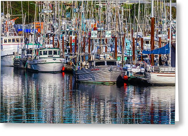 Boat Reflections Newport Oregon Greeting Card by Garry Gay