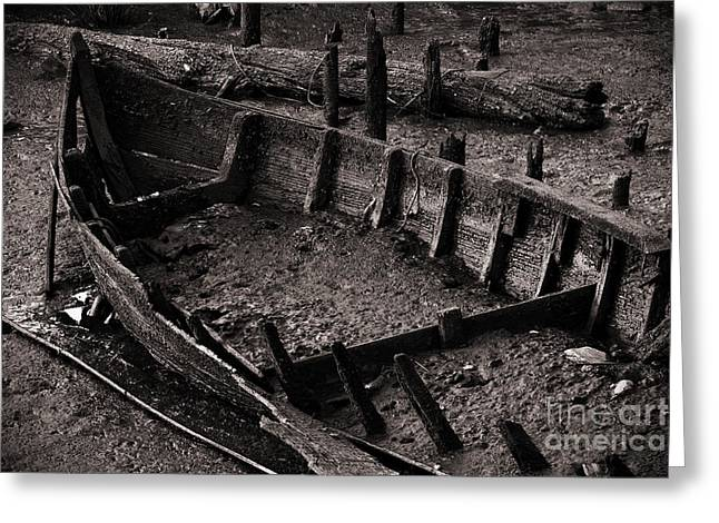 Destroyed Greeting Cards - Boat Remains Greeting Card by Carlos Caetano