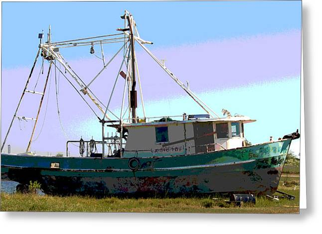 Boat Series 5 West Pointe A La Hache 2 Grounded Greeting Card by Paul Gaj