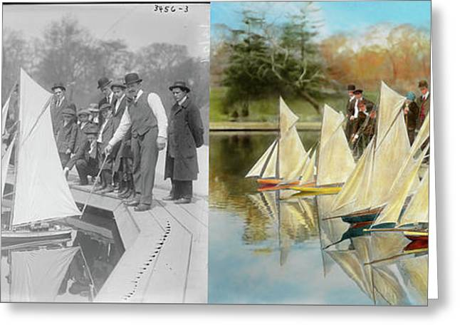 Boat - Sorry Kids This Ones Mine 1910 - Side By Side Greeting Card by Mike Savad