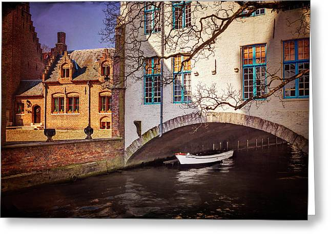 Boat Under A Little Bridge In Bruges  Greeting Card