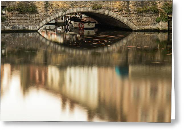 Boat Waddling On Water Channels Of Bruges, Belgium Greeting Card