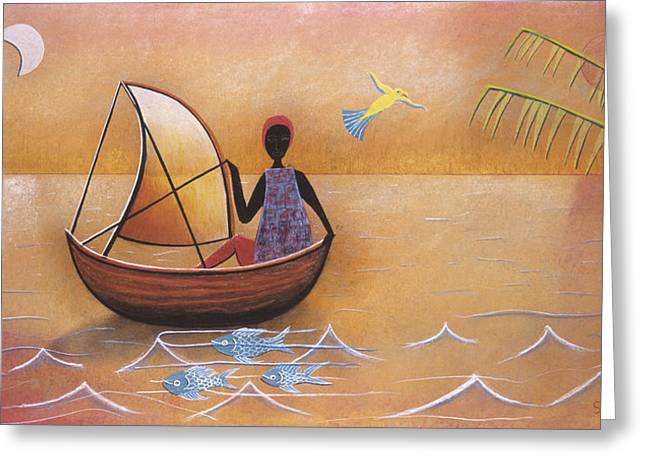 Sailing Boat Pastels Greeting Cards - Boat with Blue Fish Greeting Card by Sally Appleby