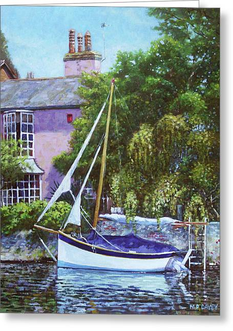 Greeting Card featuring the painting Boat With Pink House On River by Martin Davey